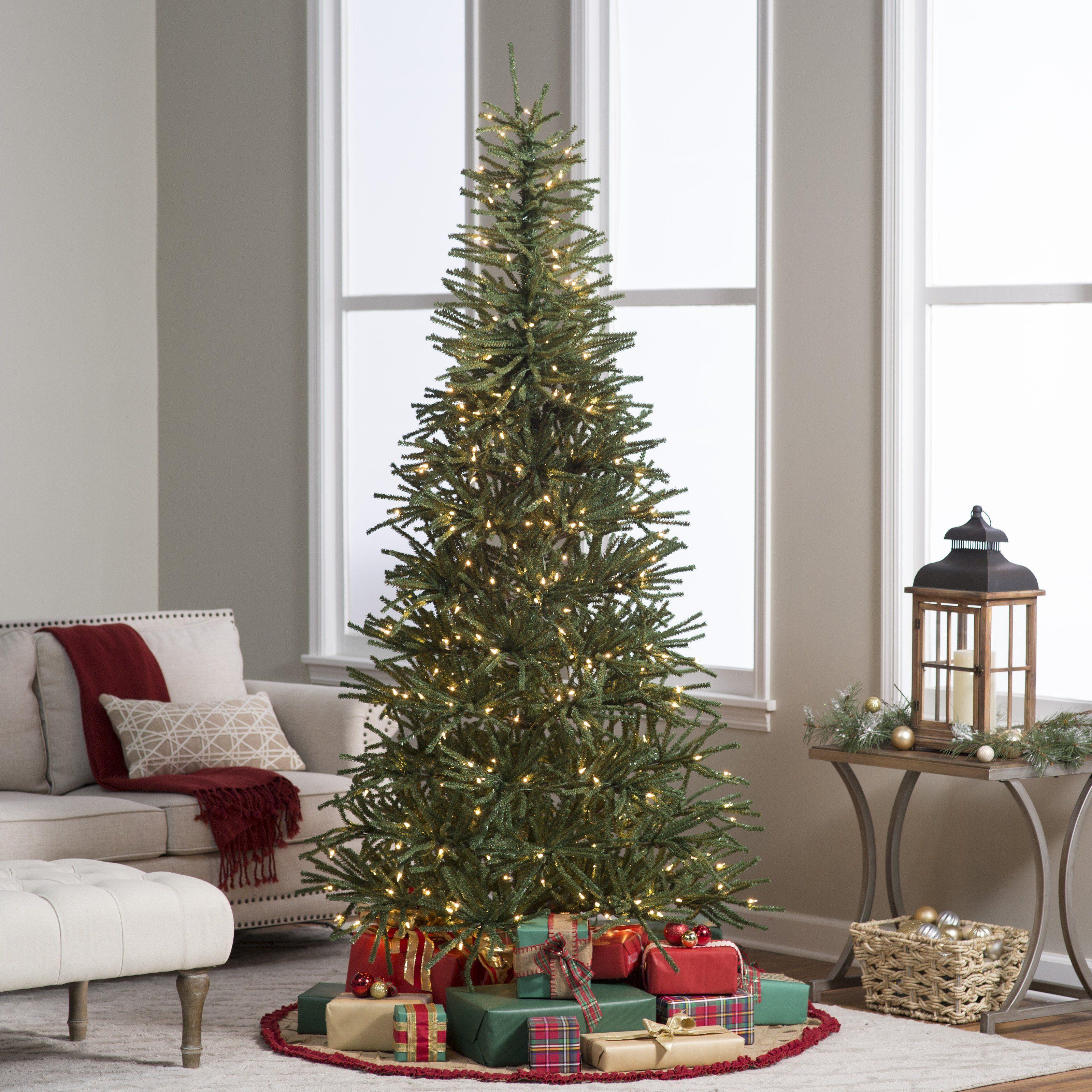 7 5 Ft Delicate Pine Slim Pre Lit Christmas Tree Www Hayneedle Com Pre Lit Christmas Tree Pencil Christmas Tree Slim Christmas Tree