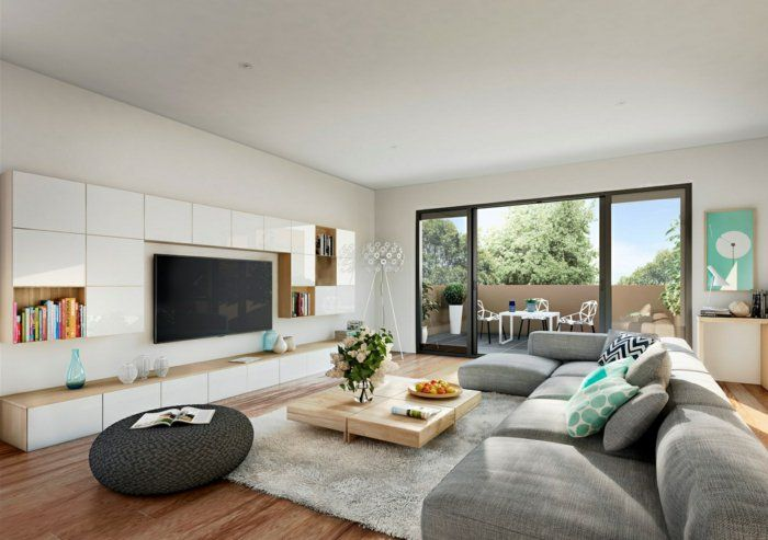wohnzimmereinrichtung ideen holzfliesen moderne wohnwand ... - Moderne Wohnzimmereinrichtung