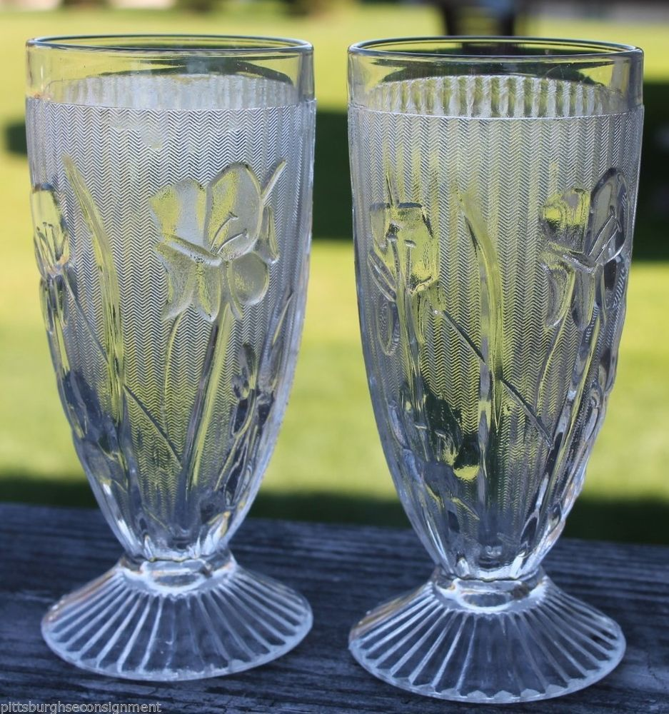 "Jeannette  Iris & Herringbone Glass  Set of 2 Ice Tea 6"" Footed Glasses  http://stores.ebay.com/Pittsburghs-e-Consignment"