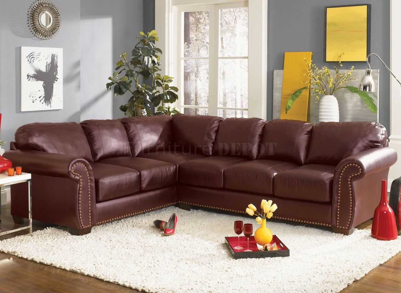 Black Bonded Leather Nail Head Sectional Sofa - Overstock Shopping - Big  Discounts on Sectional Sofas
