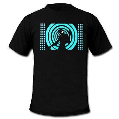 mens accendono suono t-shirt e musica equalizzatore attivato led el macchina pannello di velcro partito lavabile bar raver festa – EUR € 24.74