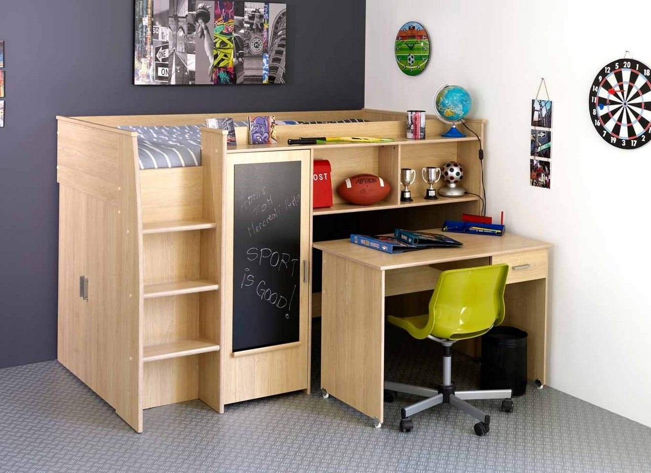 Kids Bed With Desk Combo For