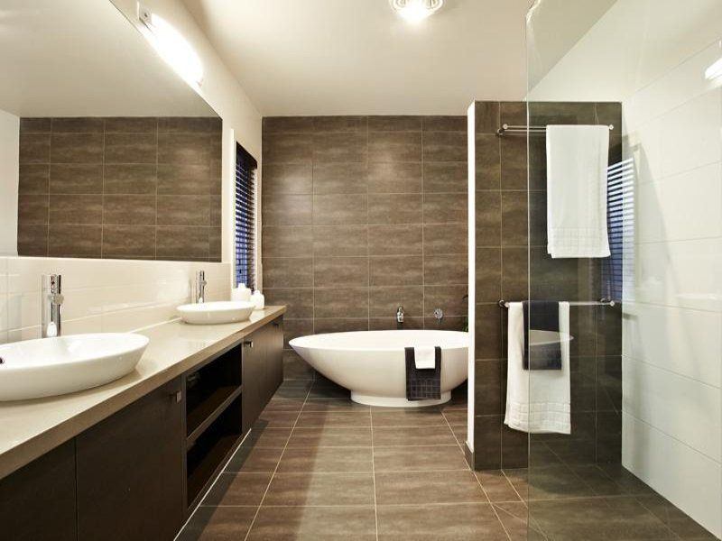 modern bathroom design with twin basins using tiles bathroom photo 203449
