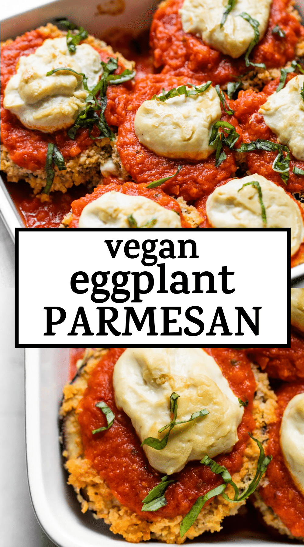 Easy Baked Vegan Eggplant Parmesan Made With Crispy Eggplant And Topped With Vegan Mozzarella In 2020 Beef Recipes Easy Vegan Dinner Recipes Vegetarian Vegan Recipes