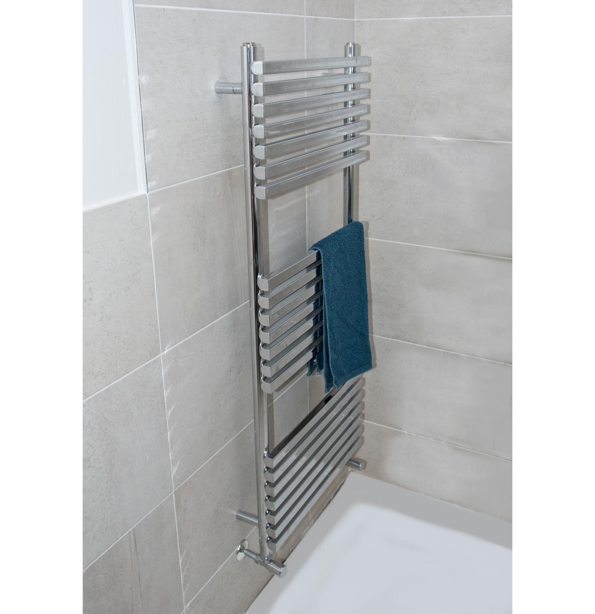 Chrome Horton Designer Bathroom Heated Towel Rail Radiator Rad 1200mm x 500mm