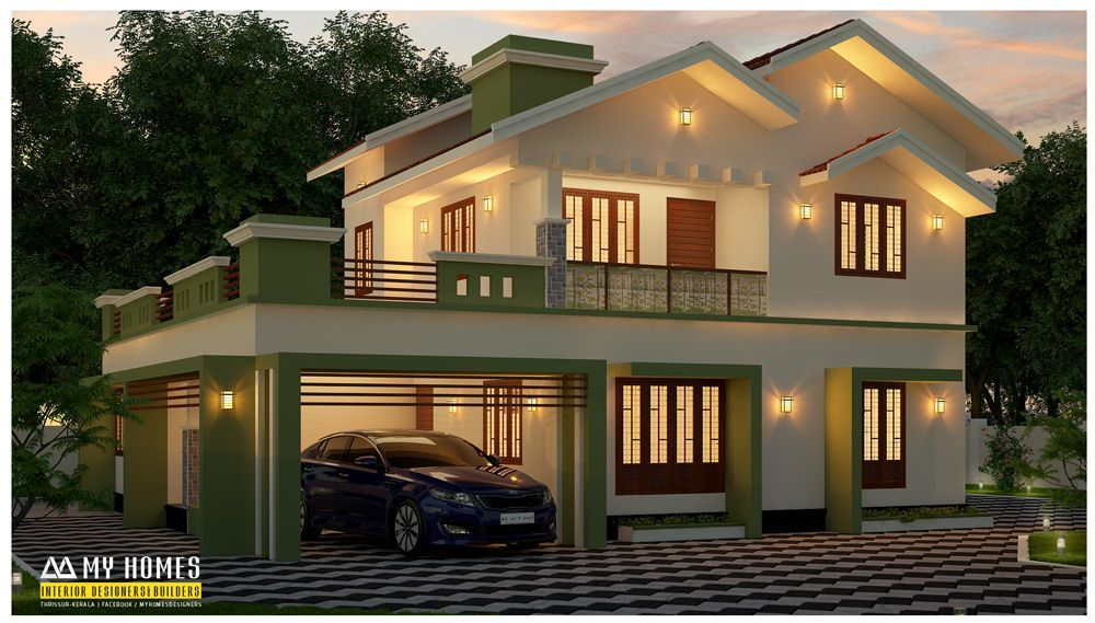 Kerala Modern Home Design 2670 Sq Ft Modern Home Design Ground Floor 1736 Sq Ft First Floor 934 Sq Ft Bed In 2020 Kerala House Design Modern House Design Kerala Houses