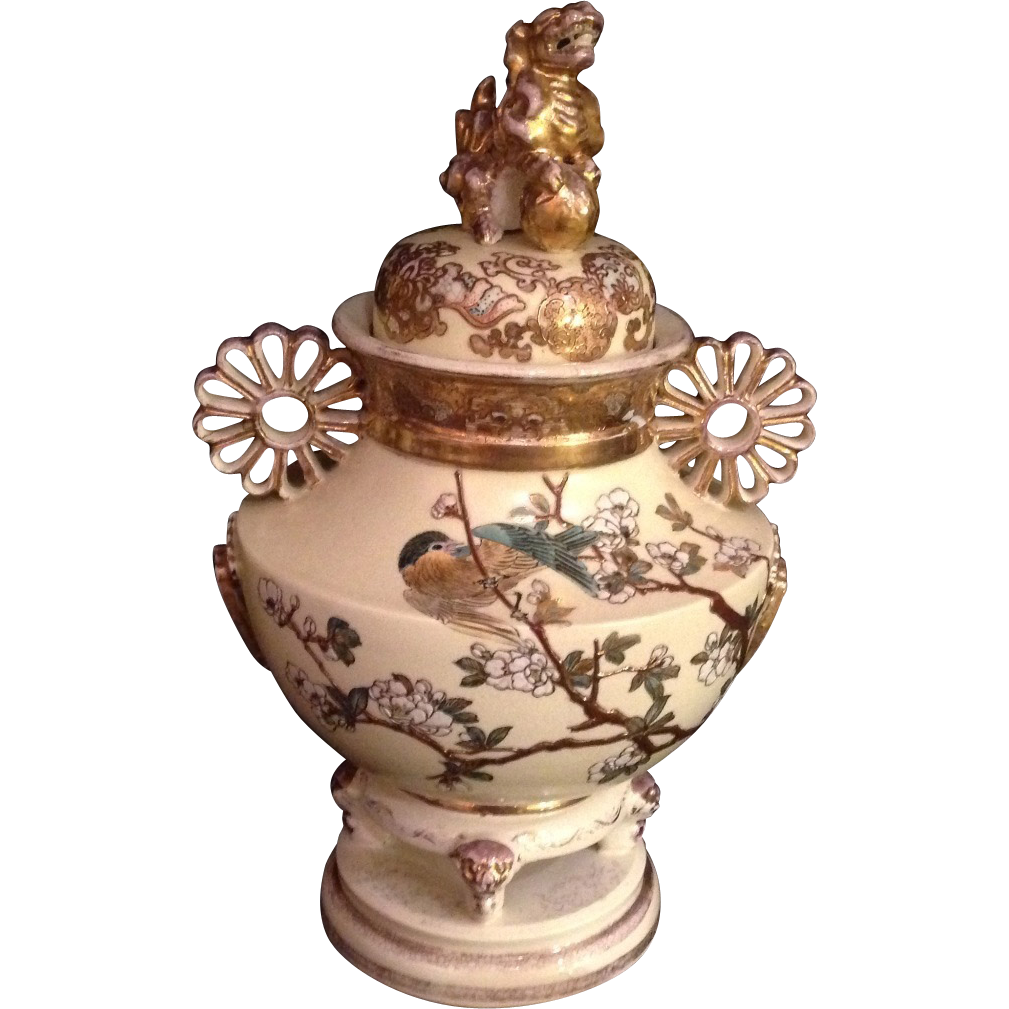 Japanese antique satsuma urn with foo dog finial and chrysanthemum japanese antique satsuma urn with foo dog finial and chrysanthemum handles reviewsmspy