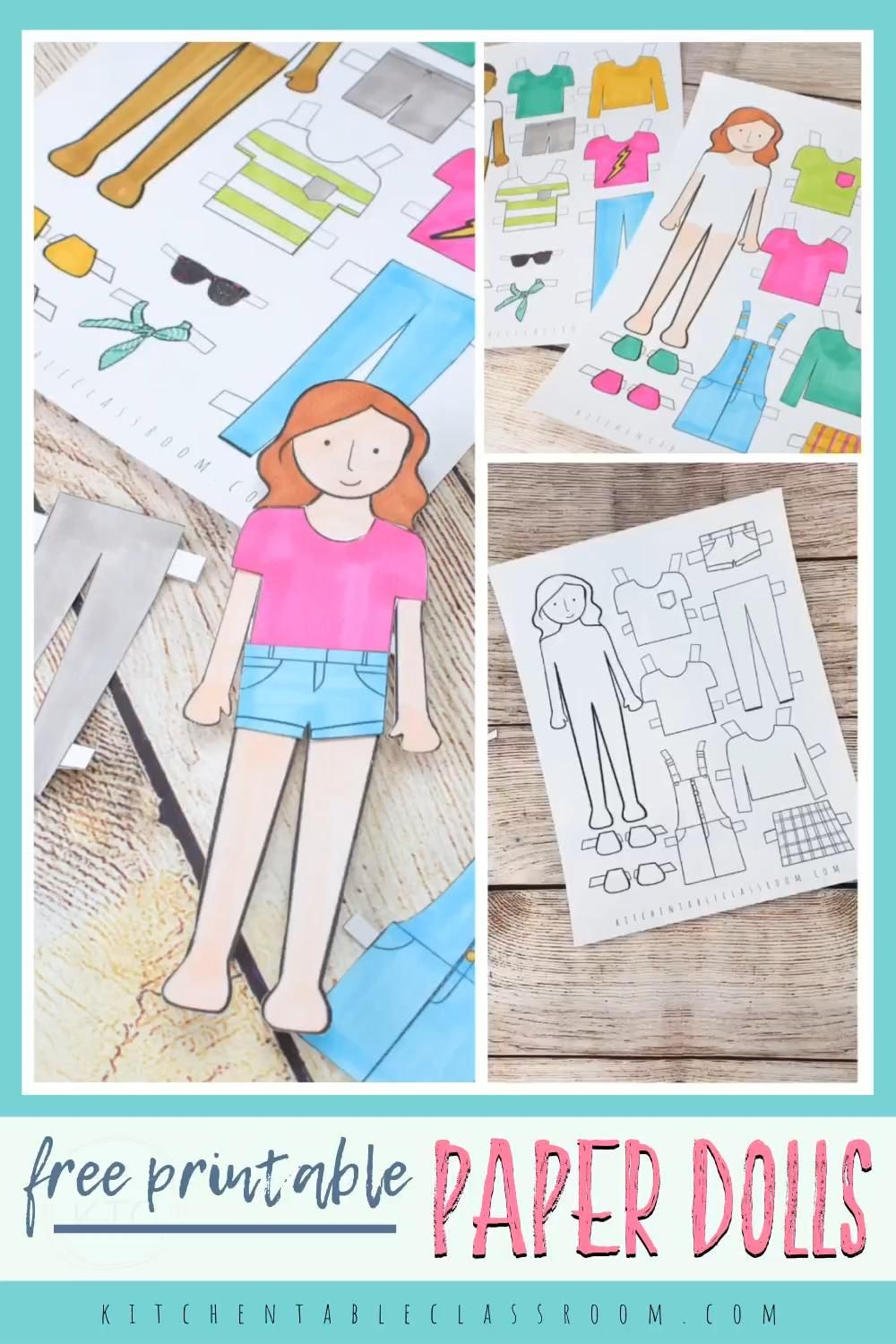 These free printable paper templates have both a boy and a girl doll.  They print in black and white and are ready for your little artist to add their own color and personality!