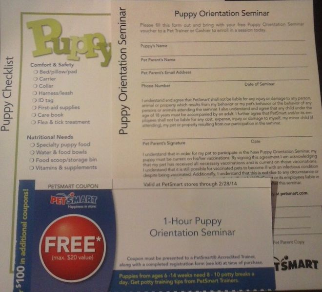 20 Value Pet Smart Petsmart Free 1 Hour Orientation Seminar For Puppy Kit Petsmart Puppies Pets