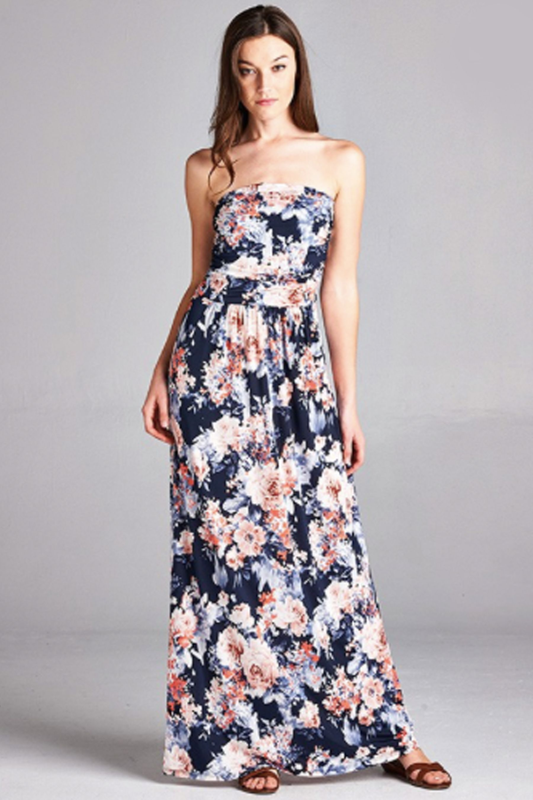 Women S Garden Party Navy And Coral Floral Pretty Strapless Maxi Dress Maxi Dress Pretty Maxi Dress Dresses [ 2700 x 1800 Pixel ]
