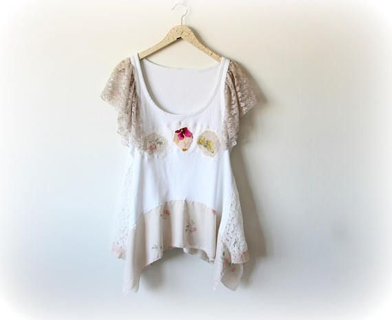 White romantic top women s lace blouse upcycled clothing