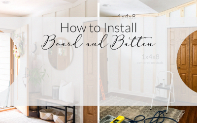 Board and batten is an easy and affordable way to create a custom look! Here is a full tutorial for how to install board and batten as an accent wall! #fromhousetohaven #boardandbatten #accentwall #huggehome #boardandbattenwall