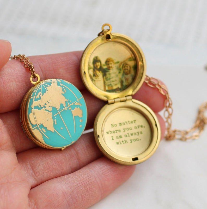 World Map Locket, Globe Necklace, Planet Earth Nec