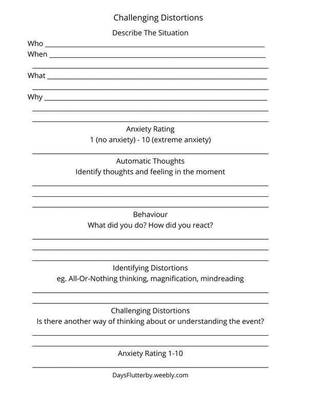 Challenging Cognitive Distortions Worksheet Free Printable