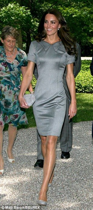 4373b6bf27d Time to shine: Kate's Catherine Walker dress shows off her stunning figure  to perfection.