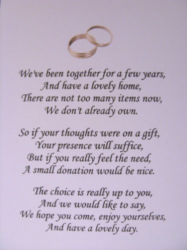 40 Wedding Poems Asking For Money Gifts Not Presents Ref No 1 Ebay Oh Good Tacky Comes In More Than One Font