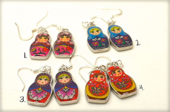 Matryoshka Earrings Colorful Russian Doll By Bevinbold 6 50