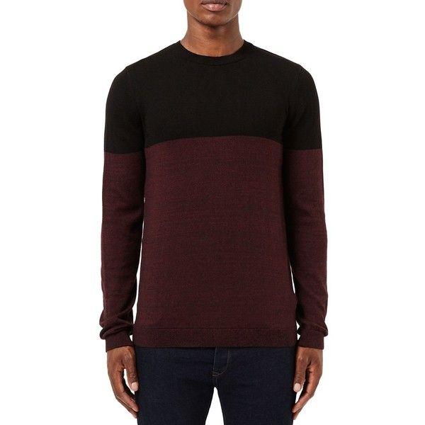 Men's Topman Colorblock Crewneck Sweater (11.345 HUF) ❤ liked on ...