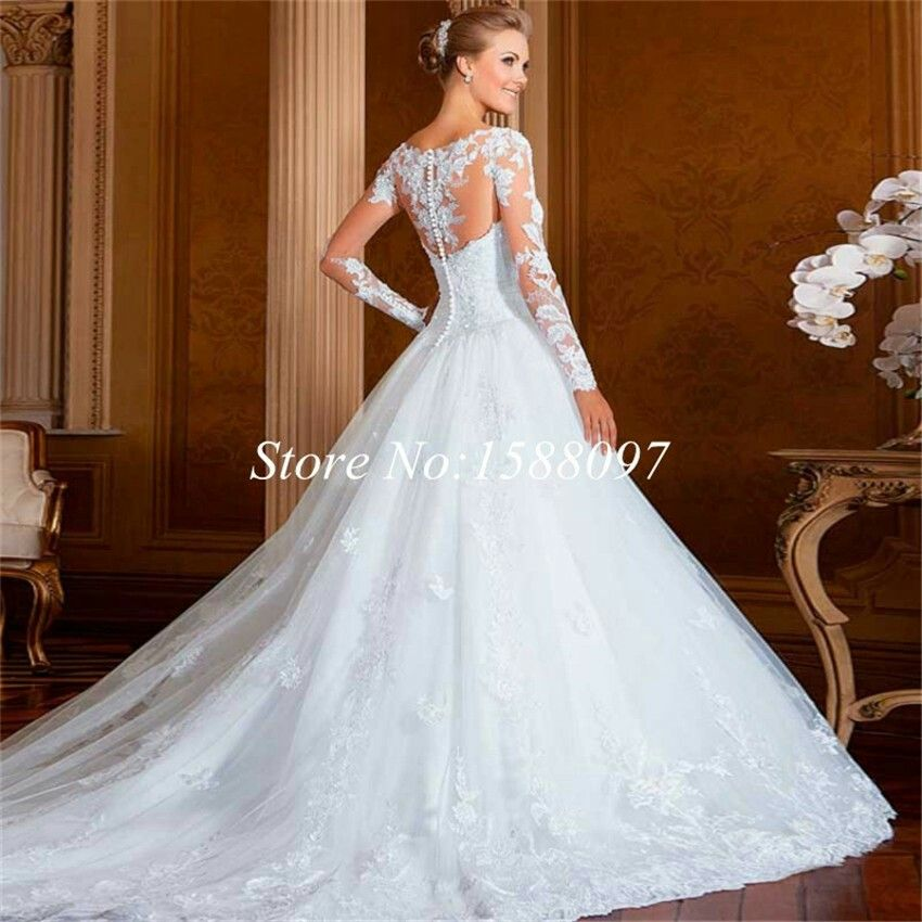 Button down back lace ball gown wedding dress | Wedding ...
