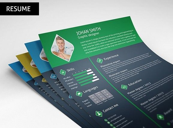 Download Free 3 Color Resume   CV Template PSD under the free PSD - colorful resume template free download