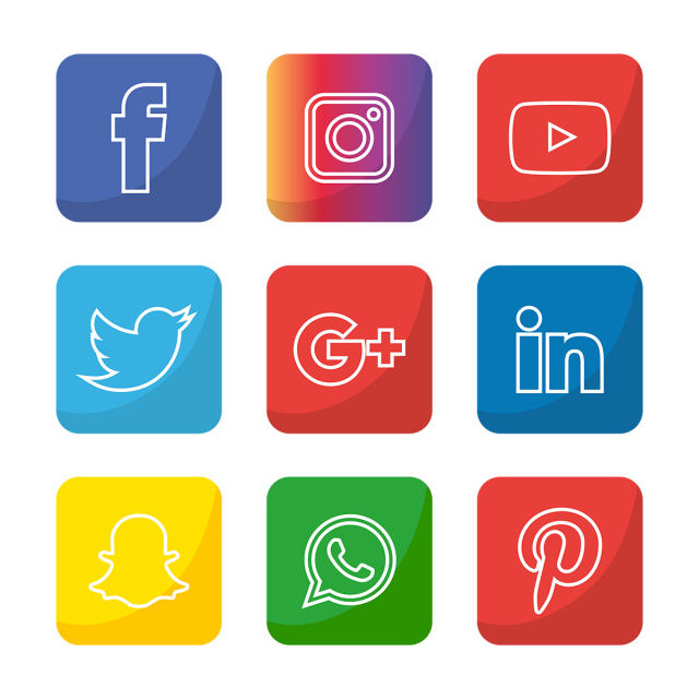 Social Media Icon Set Network Share Business App Like Web Sign Digital Technology Collection Linked Phone Social Media Icons Media Icon Icon Set