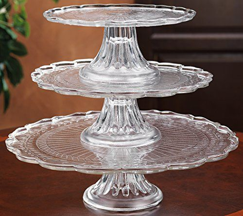 1 2 Or 3 Tiers Stackable Glass Scalloped Edge Cake Or Cupcake