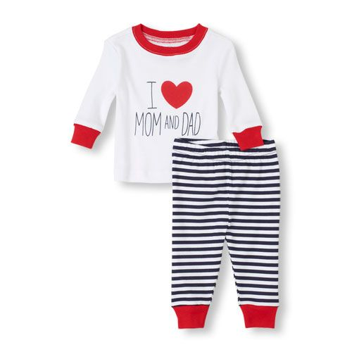 Baby boy shows his love for mom and dad this Valentine's Day with Pajamas from The Children's Place