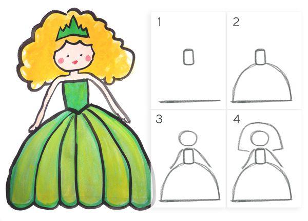 apprendre dessiner une princesse en 4 tapes faciles. Black Bedroom Furniture Sets. Home Design Ideas