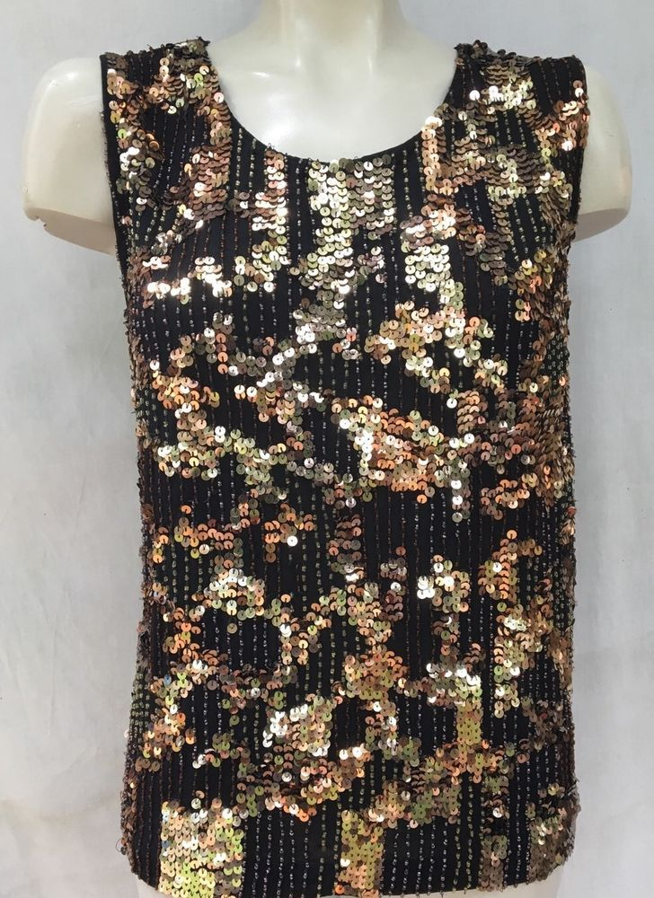 4034359dd3 Chico s Sequin Beaded Bronze Black Top Shirt Blouse Chico Sz 3 US Sz ...