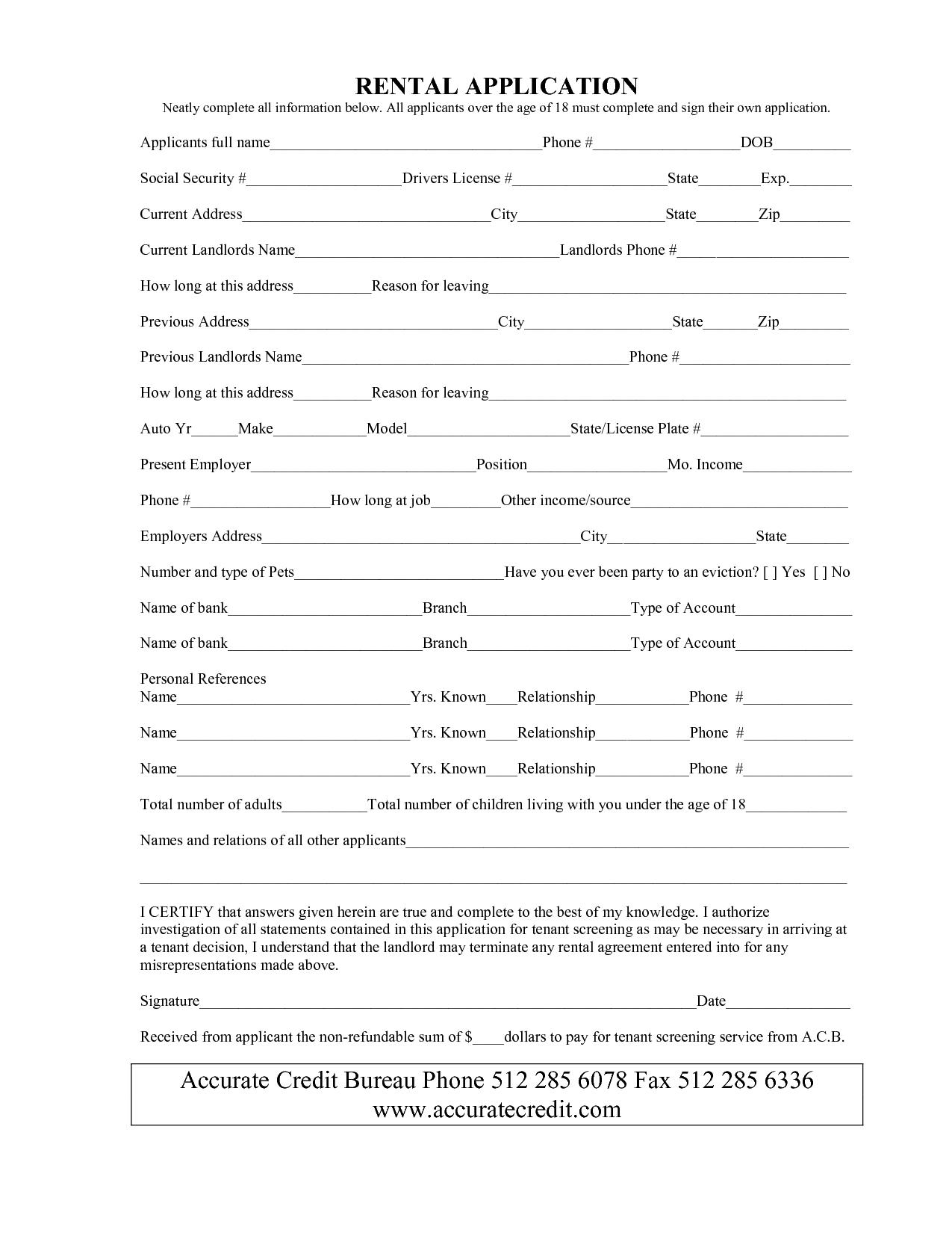 Unique Rental Application form Free xls xlsformat
