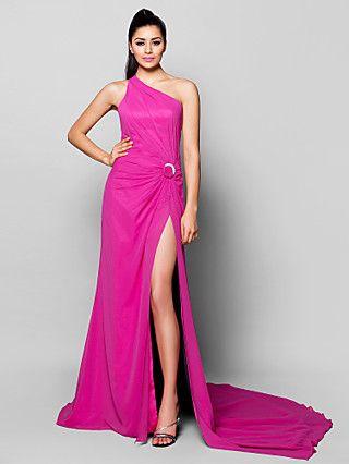 Linha A Assimtrico Cauda Corte Chiffon Evento Formal Vestido Com
