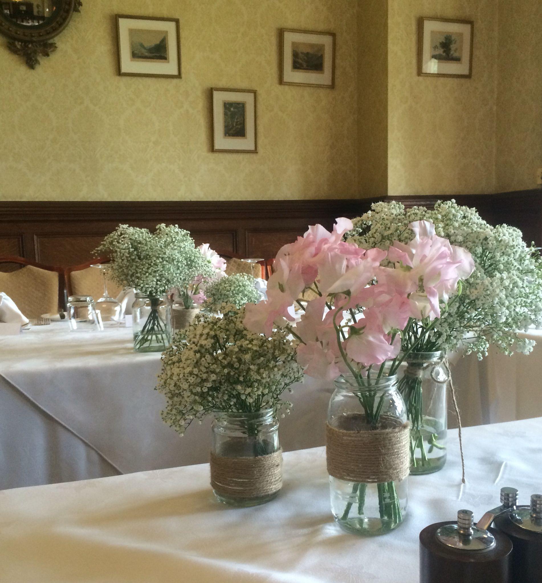 Sweet Pea Gypsophlia Jam Jar Table Decoration