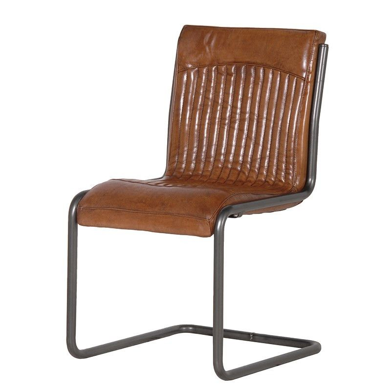 Loft Leather Dining Chair Tan Brown Shropshire Design