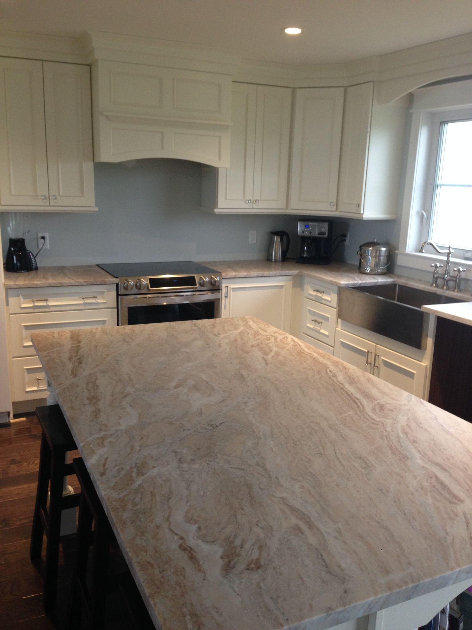 Fantasy Brown granite/quartzite counters with leathered ... on Black Granite Countertops With Brown Cabinets  id=24983