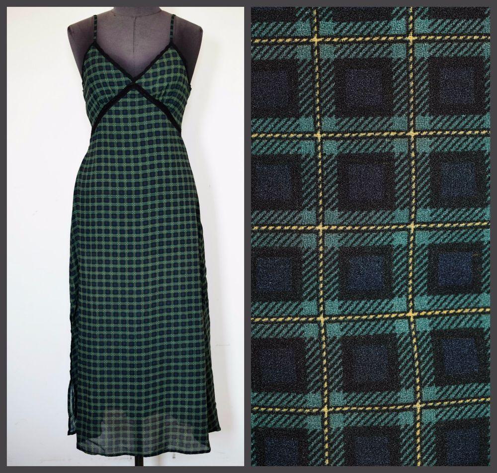 ralph lauren denim & supply slip dress, green / blue plaid