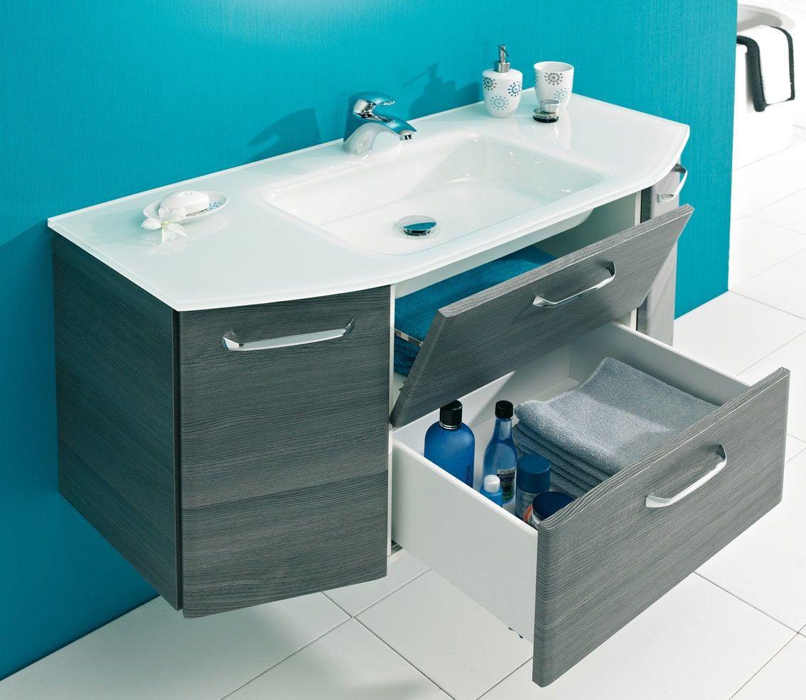 Waschbeckenunterschrank Alika 111 Cm Breite 2 Turen 1 Klappe Und 1 Auszug Mit Turdampfer Masse Bxhxt Ca 111 X 52 X 48 Cm Home Decor Sink Decor