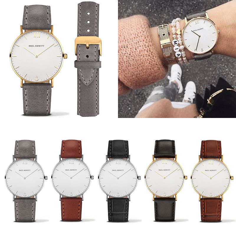 Casual Women Men PAUL HEWITT Brand Simple Quartz Analog Watch Silver Gold Leather Band Wrist Watches -- BuyinCoins.com