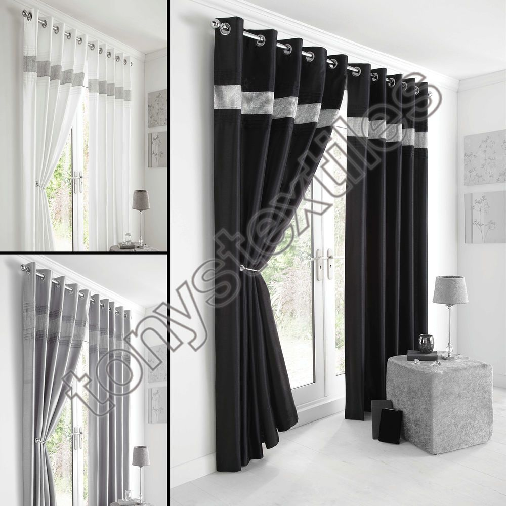 Fully Lined Pair Eyelet Diamante Ring Top Ready Made Curtains - Ready made curtains white