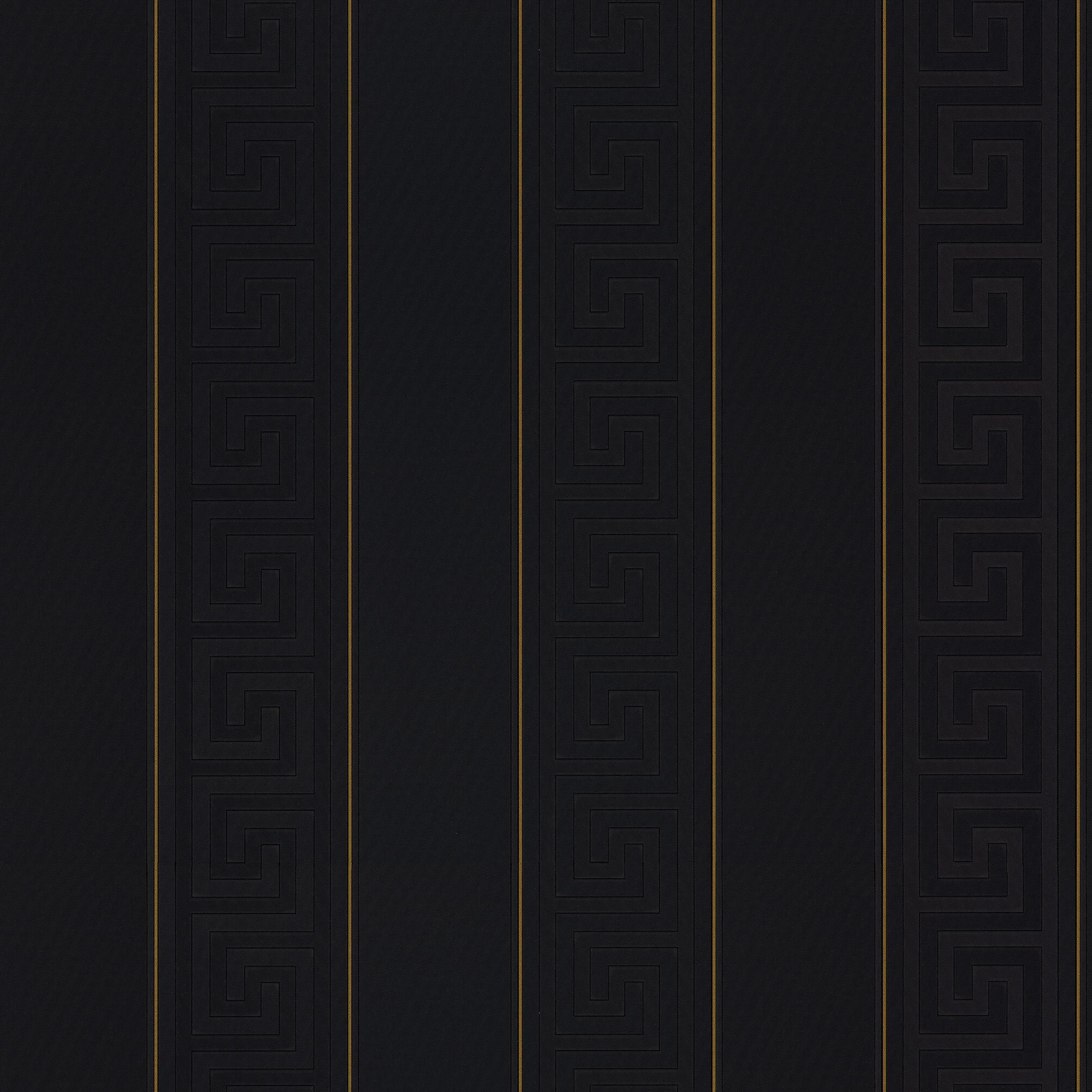 Versace Black Greek Key Stripe Wallpaper Versace