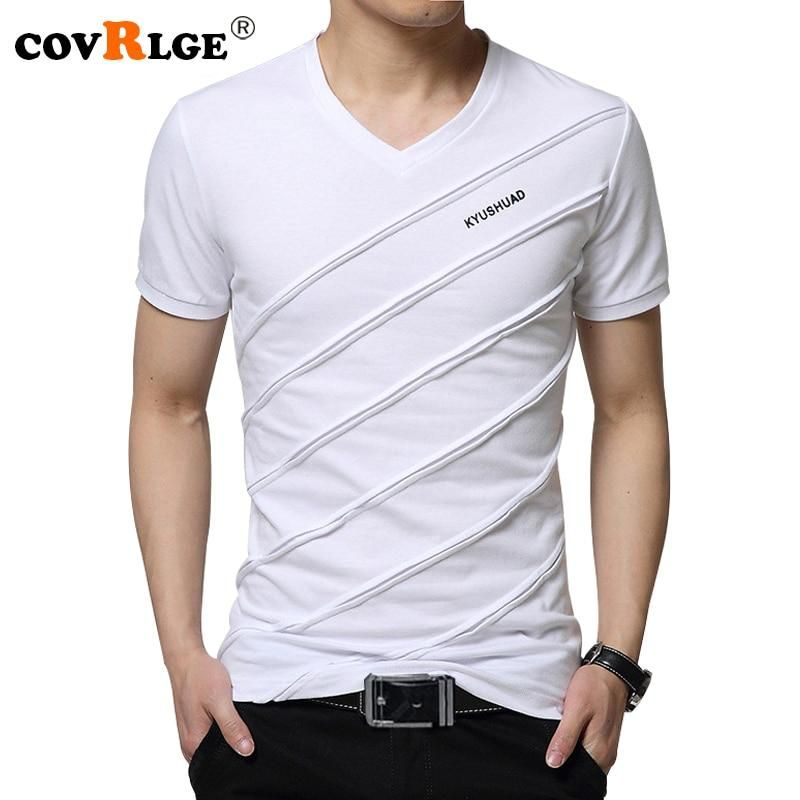 b7c25c60cc03 Covrlge 2018 Summer Men Short Sleeve T-shirt Men's V-neck Plus Size 3XL 4XL  5XL Tee Shirt Fitness Slim Fit Camiseta Tops MTS410