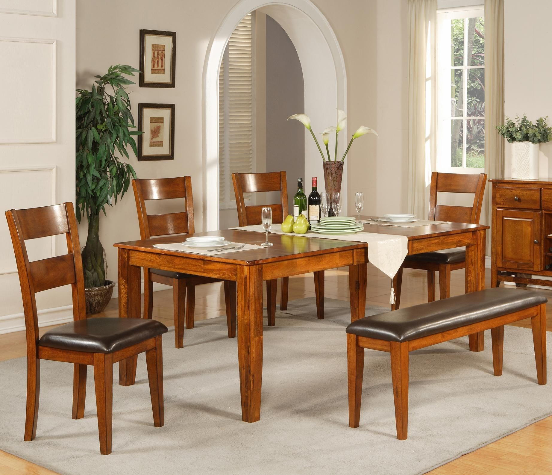 Mango 6 Pc. Solid Mango Table Set with Bench by Steve Silver ...