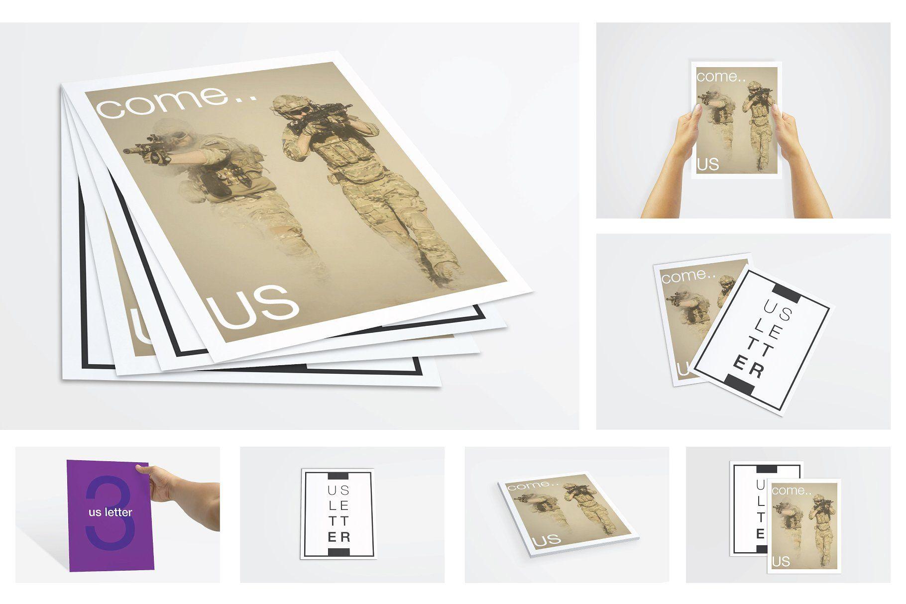 Us Letter Flyer Poster Mockups Size Pixel Spread Scene