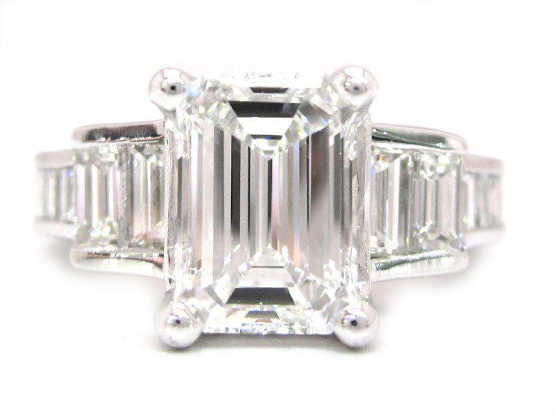 Emerald cut diamond engagement ring 2.40ctw by KNRINC on Etsy