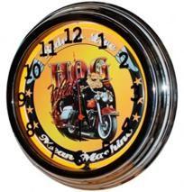 "17"" Neon Wall Clock- Hog Wild Biker Design"