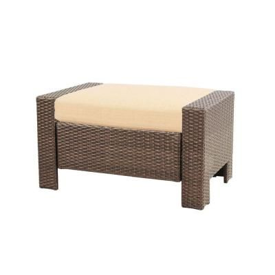 Hampton Bay Beverly Patio Ottoman With Beverly Beige