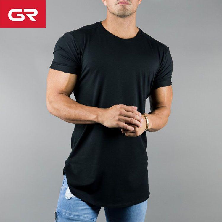 ecc36172a43668 New Cotton Modal Elastane Split Scoop Hem Slim Fit Black Custom Logo T  Shirt Printing