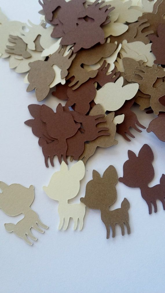 brown and cream baby deer fawn shower table confetti woodland critter theme table scatter decor decoration