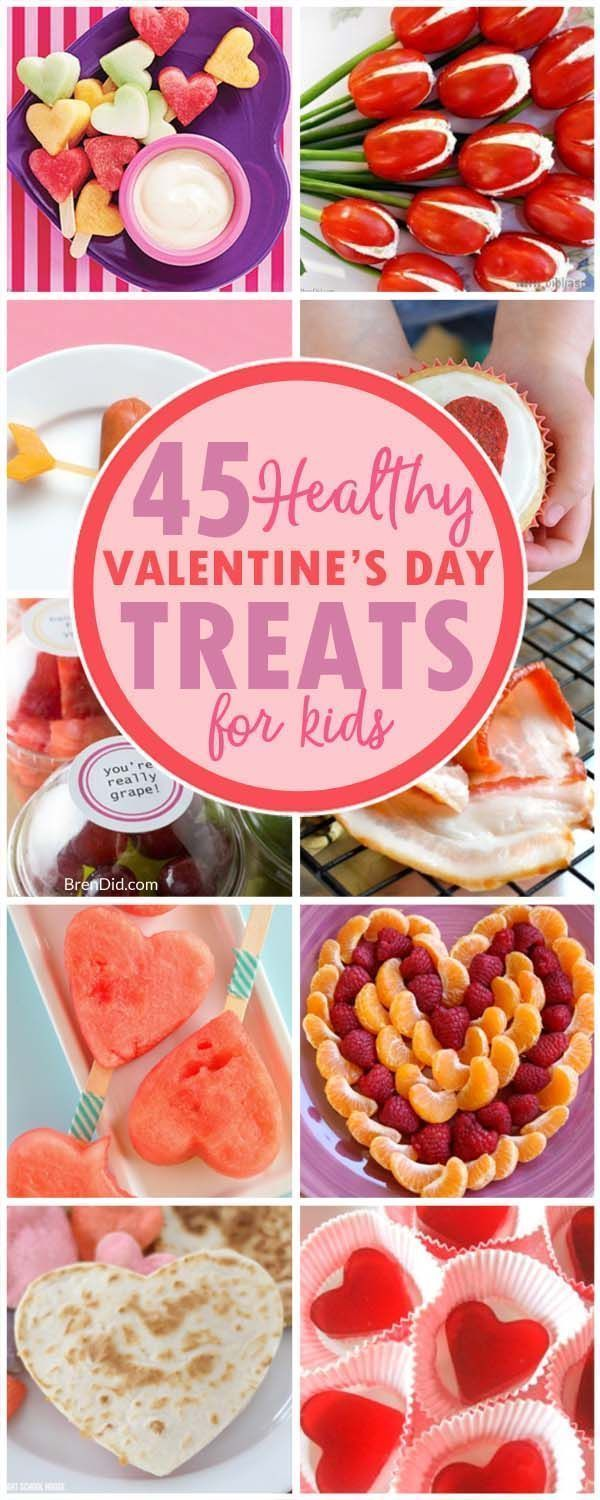 45 Healthy Valentine's Day Treats For Kids That Will Delight Your Sweetheart is part of Healthy valentines, Valentines healthy snacks, Healthy valentines treats, Valentines day treats, Valentines snacks, Valentines party food - Skip the candy this year and make one of these 45 healthy Valentine's Treats for your sweetheart