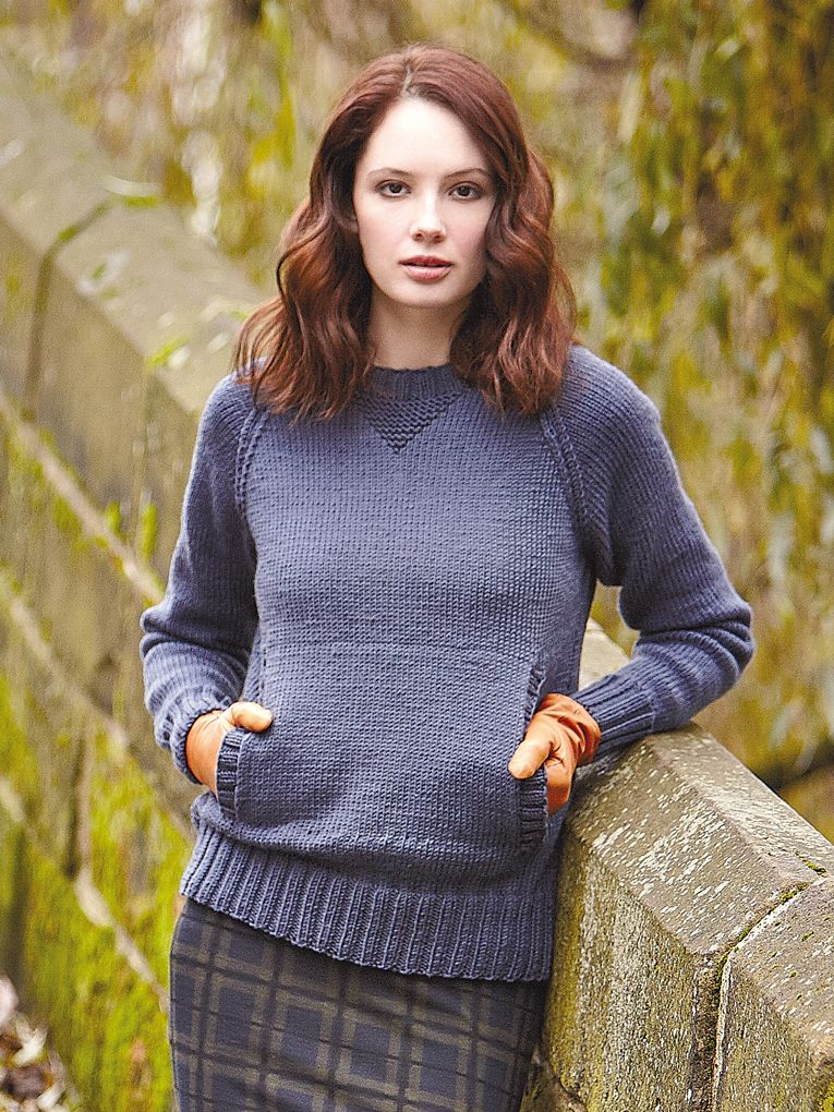 Clayton - Knit this womens stocking stitch sweater from Easy Aran ...