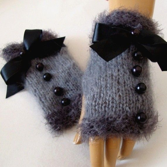Hand Made, Knitting ,Gray Fingerless Glove Arm Warmer Adorned Black Ribbon And B…